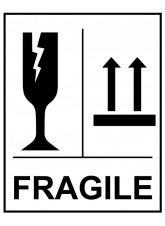 Roll of 250 Fragile Glass this Way Up Self Adhesive Labels - 75 x 100mm